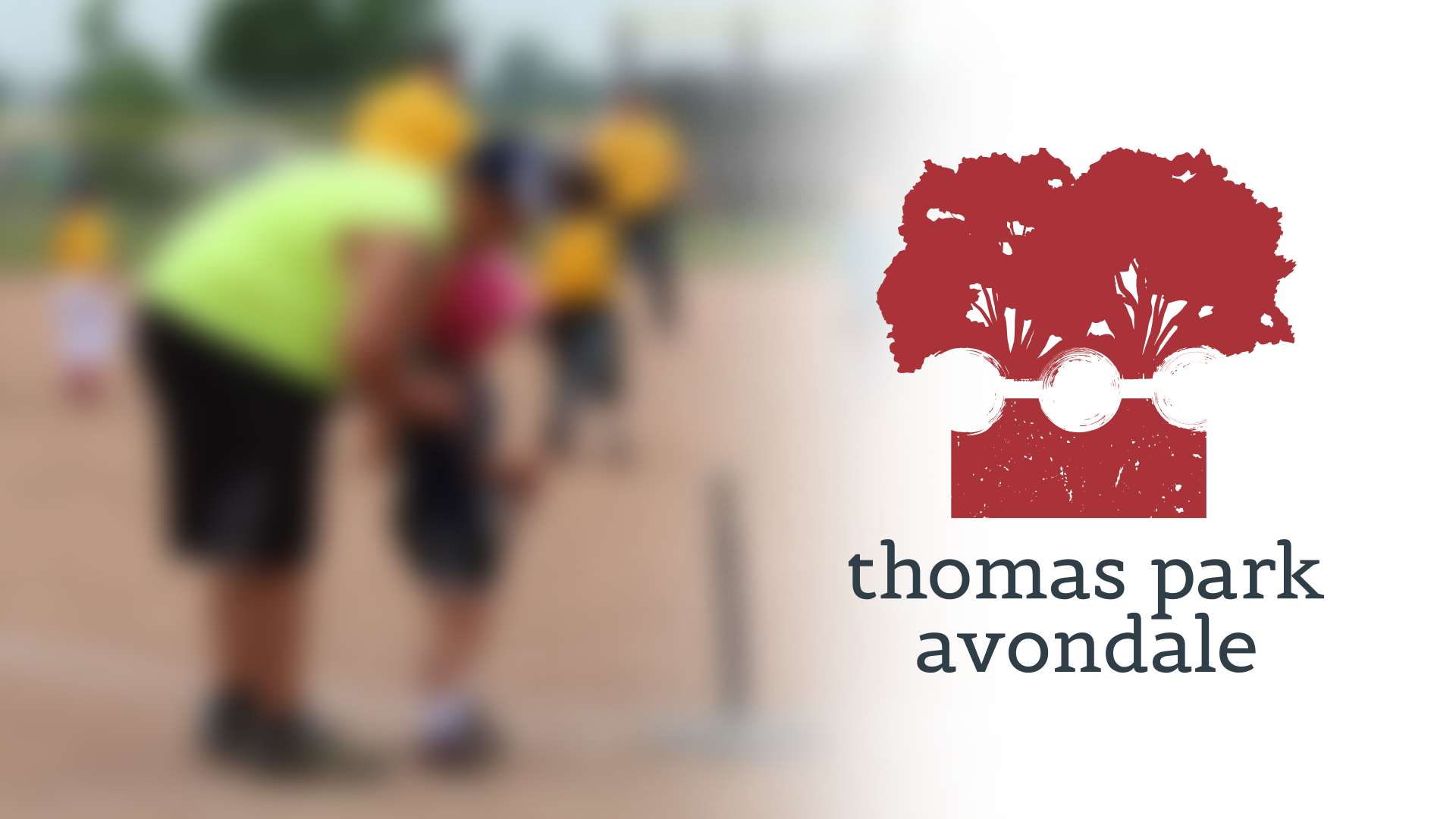 The Thomas Park Avondale logo, made up of trees, three dots, and part of a gear shape; all overlaid over a photo of kids teeball from the neighborhood.