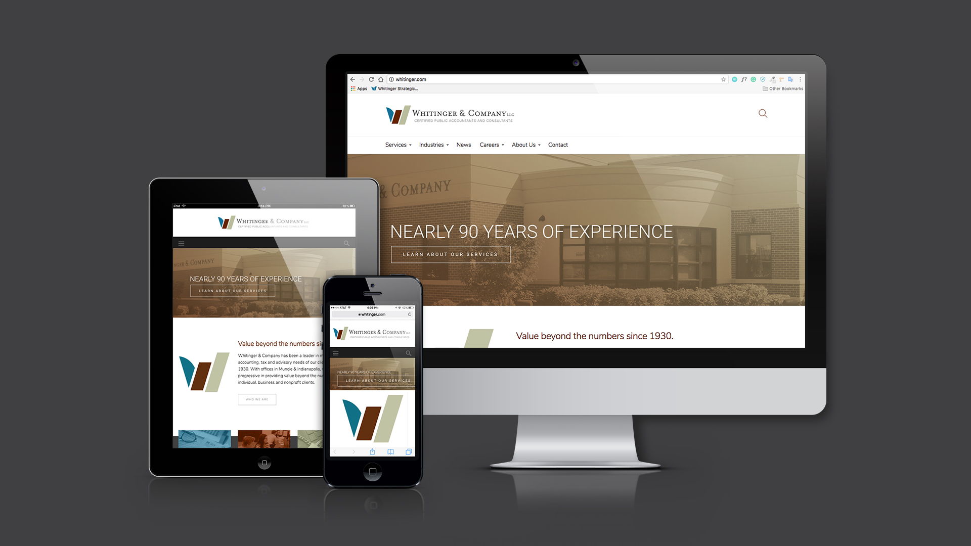 A responsive view of the Whitinger & Company website, depicting the mobile, tablet, and desktop versions.