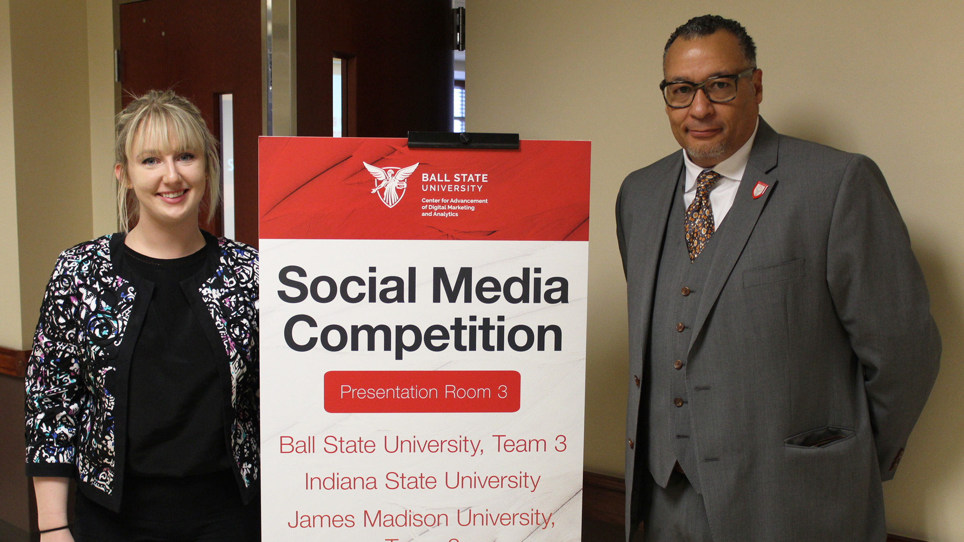 Kari Wissel (left) and Eric Harvey (right) facilitated this year's Social Media Competition at Ball State.