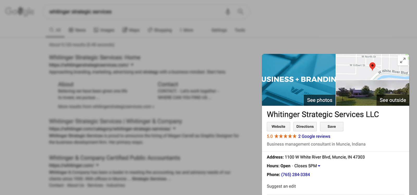A screenshot of a Google search with the results slightly blurred out and darker, and the business info to the right is crisp and in color.