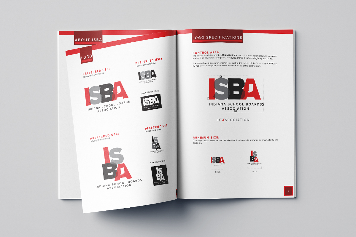Spread view of the ISBA Brand Guide.