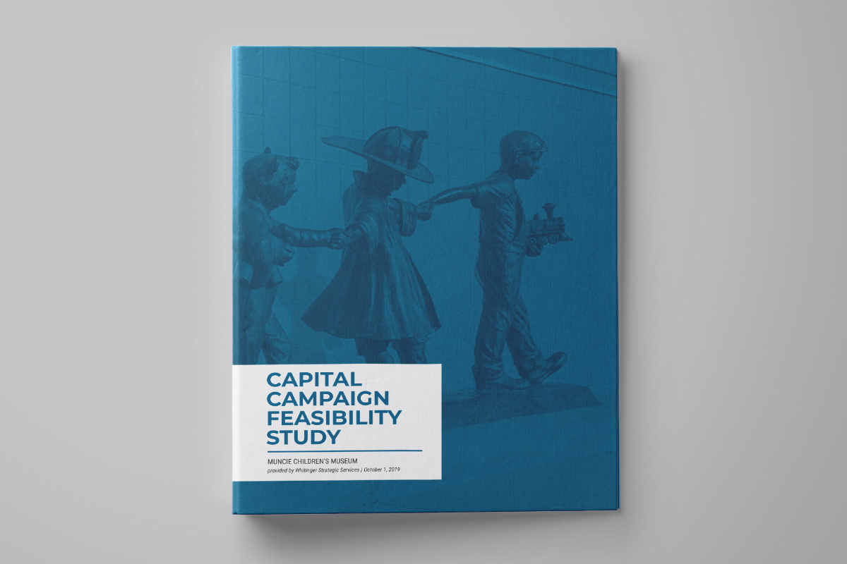 "Binder cover showing the ""Capital Campaign Feasibility Study"" for the Muncie Children's Museum"